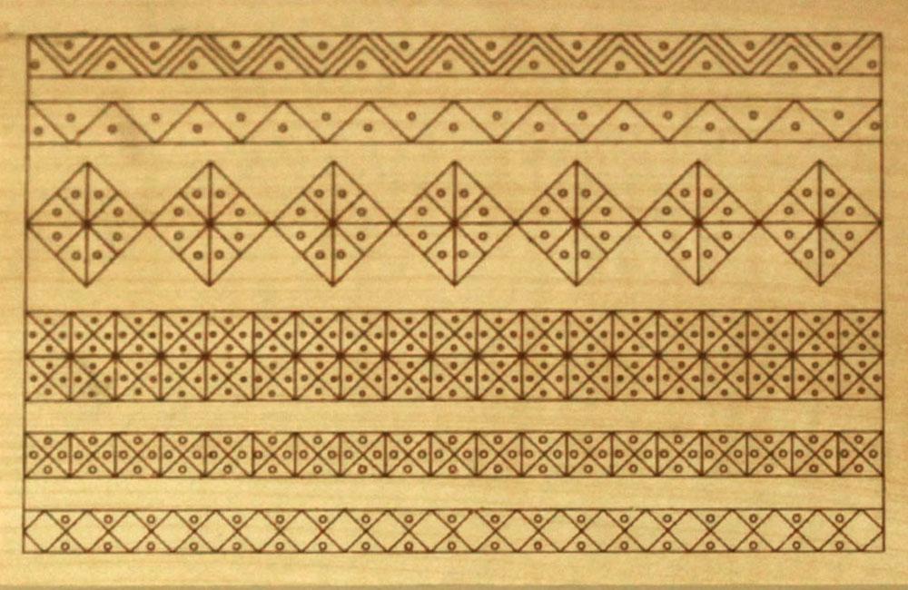 Hársfára előrajzolt faragási minta (3.-4. szint)